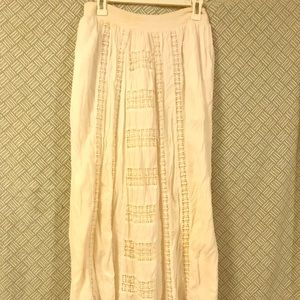 Anthropologie Maeve White embroidered maxi skirt